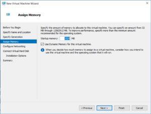 Hyper V Manager - New Virtual machine Wizard - Assign Memory dialog box screenshot