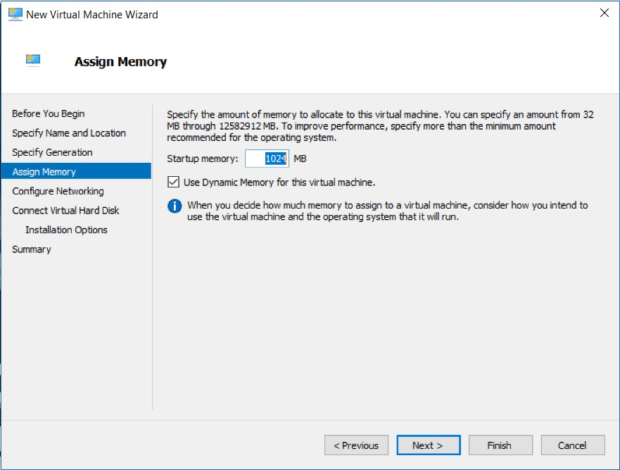Hyper V Manager - New Virtual machine Wizard - Assign Memory dialog box screenshot