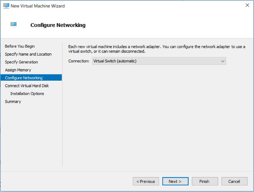 Hyper V Manager - New Virtual machine Wizard - Configure Network dialog box screenshot