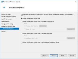 Hyper V Manager - New Virtual machine Wizard - Installation Options dialog box screenshot