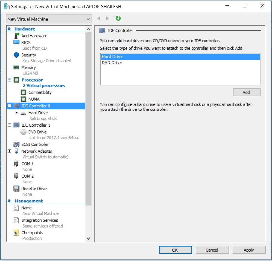 Hyper V Manager - Virtual Machine Settings - IDE Controller