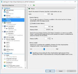 Hyper V - Virtual Machine - Memory Settings