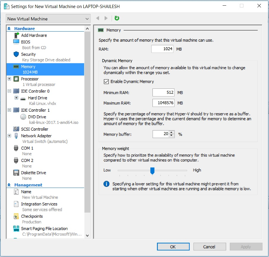 Hyper V - Virtual Machine - Memory Settings
