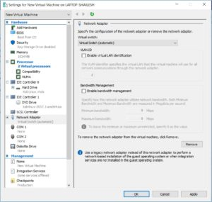 Hyper V Manager - Virtual machine Network Adapter settings