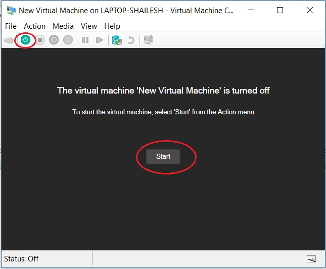 Hyper V - Start Virtual Machine