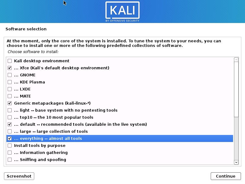 Kali Linux Installation - Software selection