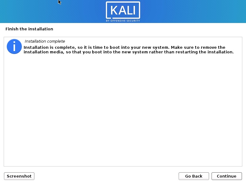 Install Kali Linux 2021 - Installation Complete Screenshot