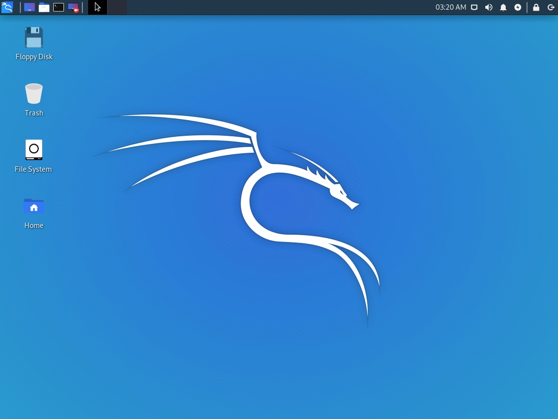 Kali Linux home screen