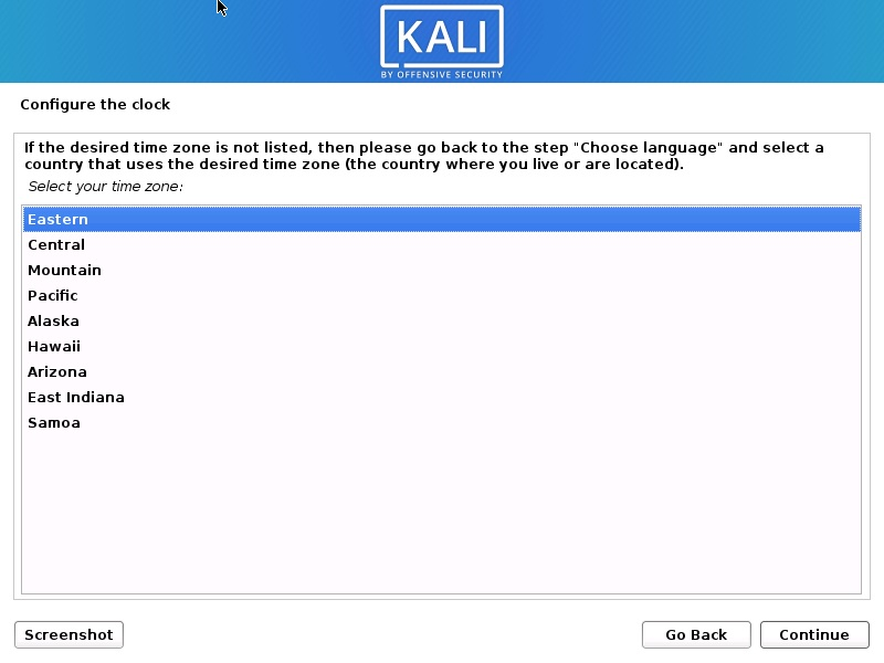 Install Kali Linux 2020 - Configure Clock Screenshot