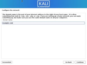 Install Kali Linux 2020 - Configure the Network- Enter Domain Name Screenshot