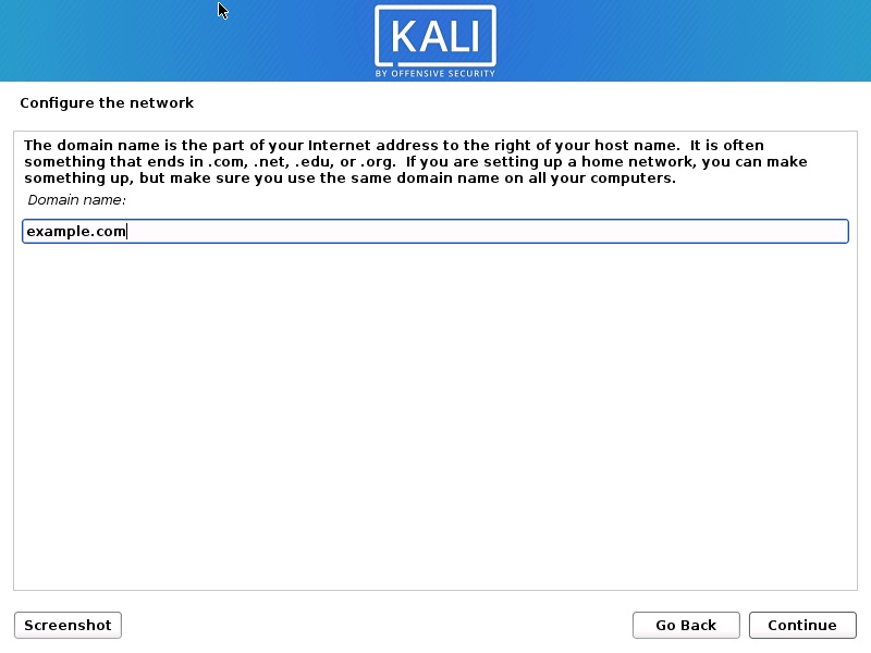 Install Kali Linux 2021 - Configure the Network- Enter Domain Name Screenshot