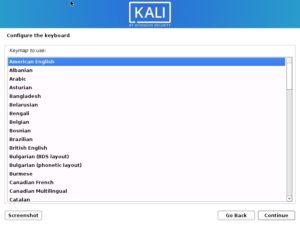 Install Kali Linux 2021 - Configure keyboard Screenshot
