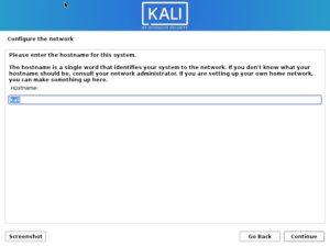 Install Kali Linux 2021 - Configure the Network Screenshot