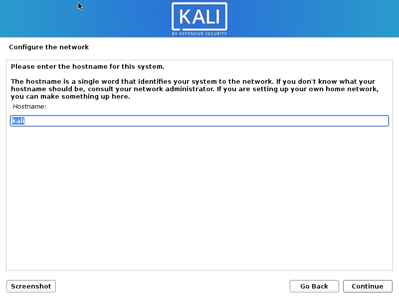 Install Kali Linux 2020 - Configure the Network Screenshot