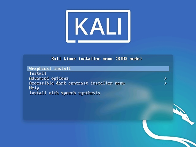 Kali linux installation boot menu screenshot