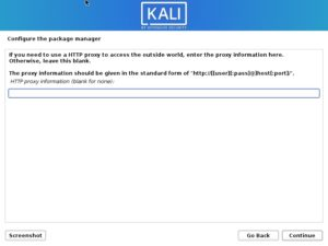 Install Kali Linux 2020 - Configure the Package Manager - HTTP proxy Screenshot