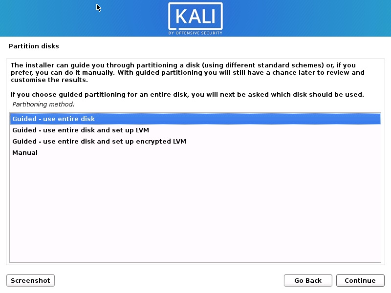 Install Kali Linux 2020 - Partition Disk Screenshot