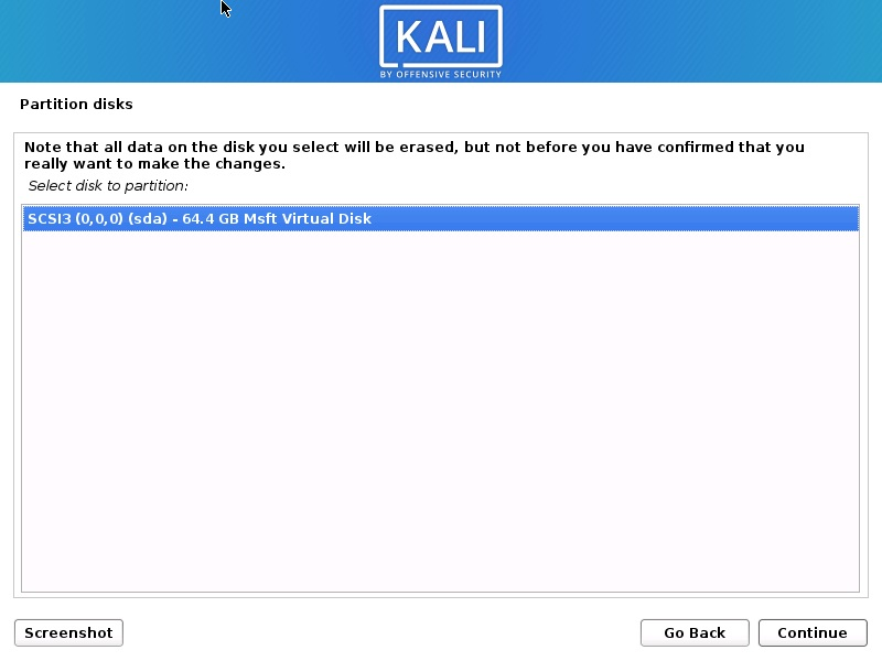 Install Kali Linux 2021 - Select Disk to Partition Screenshot
