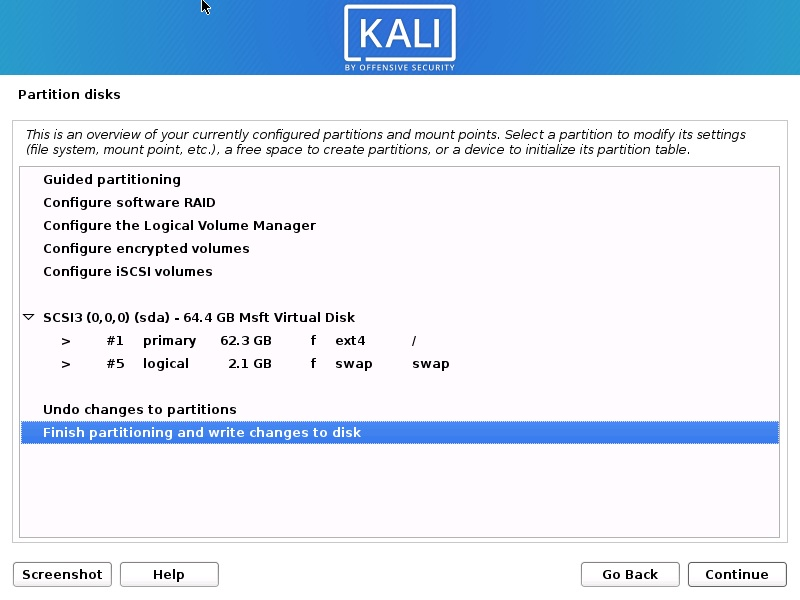 Install Kali Linux 2021 - Disk Partition Overview Screenshot