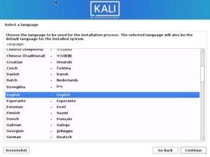 Install Kali Linux 2021 - Select a Language Screenshot