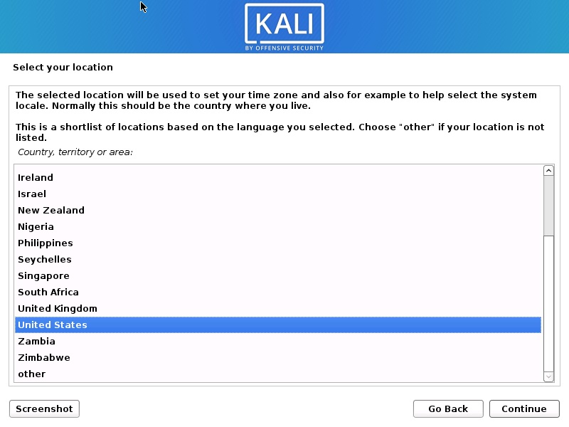 Install Kali Linux 2021 - Select Location Screenshot