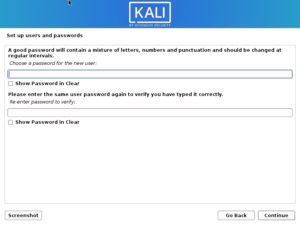 Kali Linux Installation - set user password