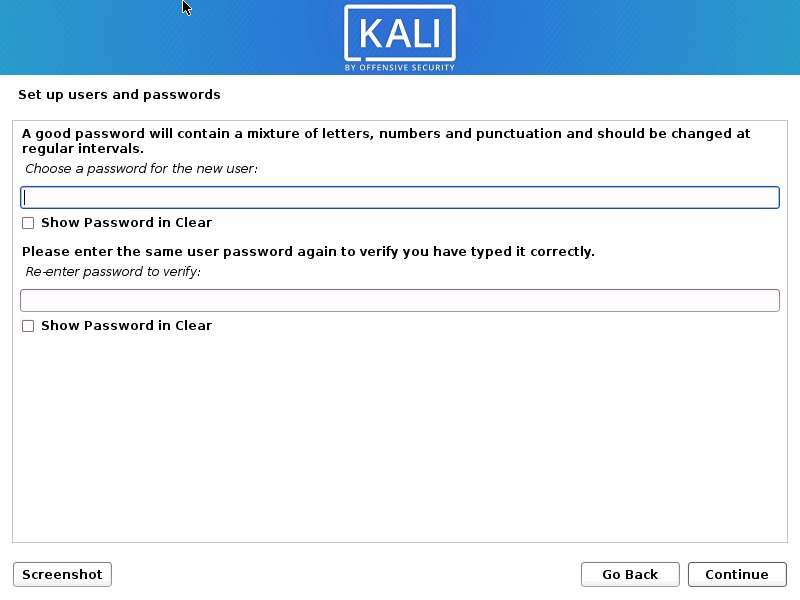 Kali Linux Installation - set user password