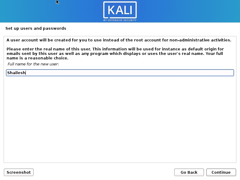 Install Kali Linux 2020 - Set up Users name  Screenshot