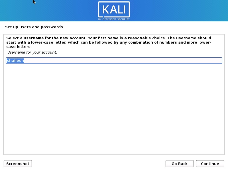 Install Kali Linux 2021 - Set up Users name Screenshot