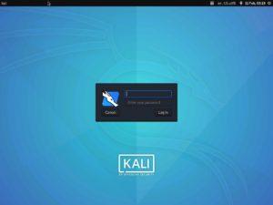 Kali Linux login screen