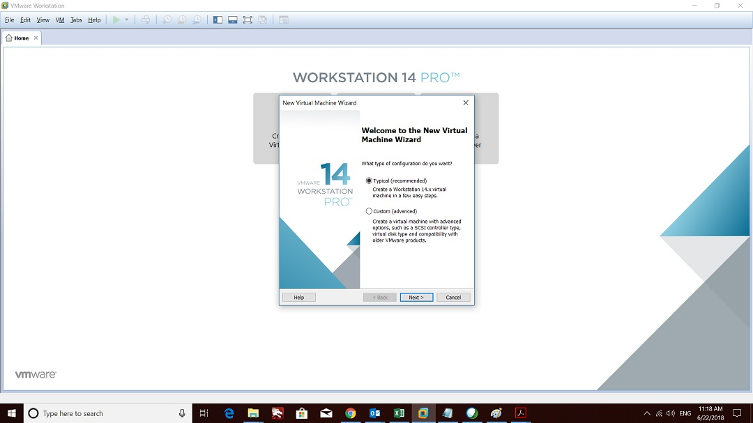 VMware workstation home create a new virtual machine wizard welcome screen screenshot