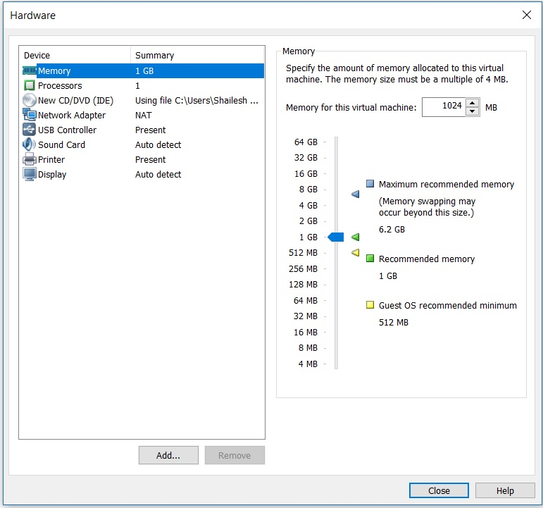 VMware workstation home - create a new virtual machine wizard - hardware memory setup screenshot