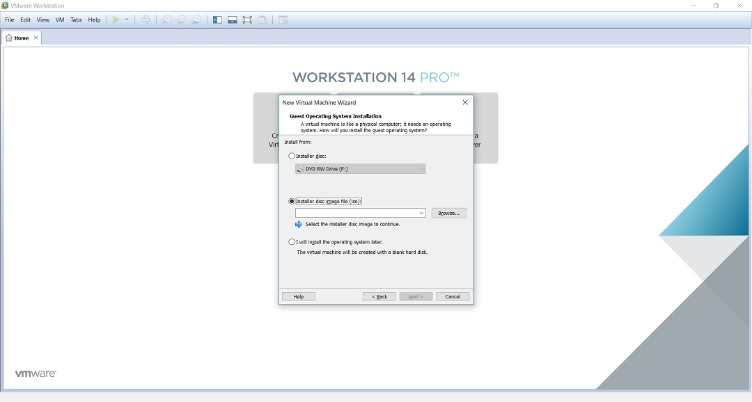 VMware workstation home screen - create a new virtual machine wizard installer disc image file browse screenshot.