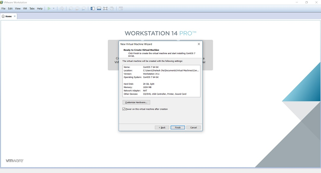 VMware workstation home create a new virtual machine wizard ready to create virtual machine dialogbox screenshot