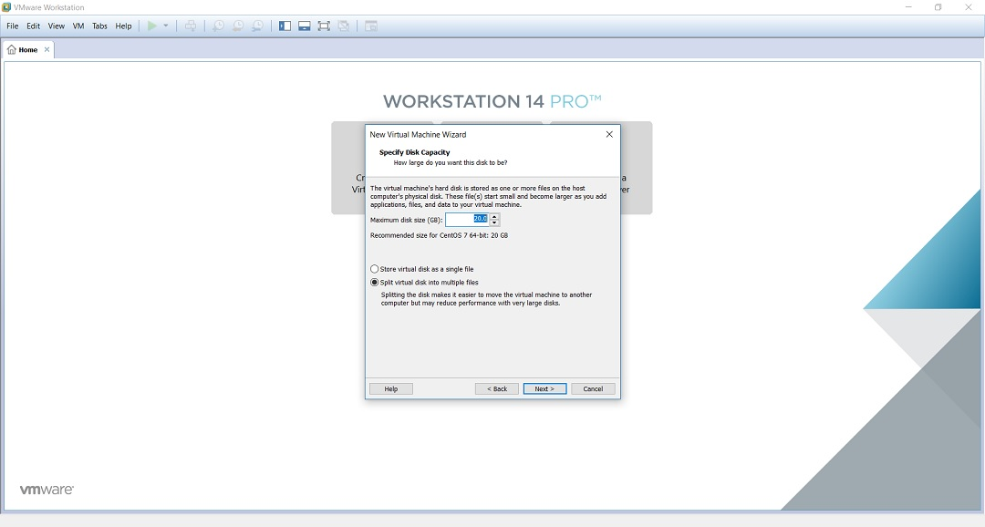 VMware workstation home create a new virtual machine wizard specify disk space screenshot