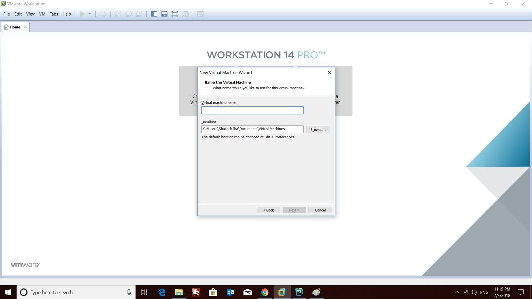 VMware workstation home create a new virtual machine wizard virtual machine name screenshot
