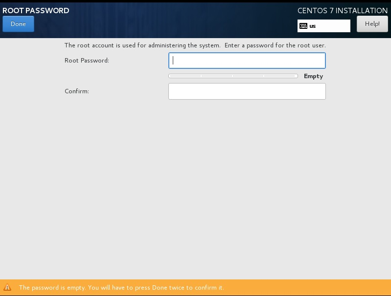 CentOS setup set root password dialog box screenshot