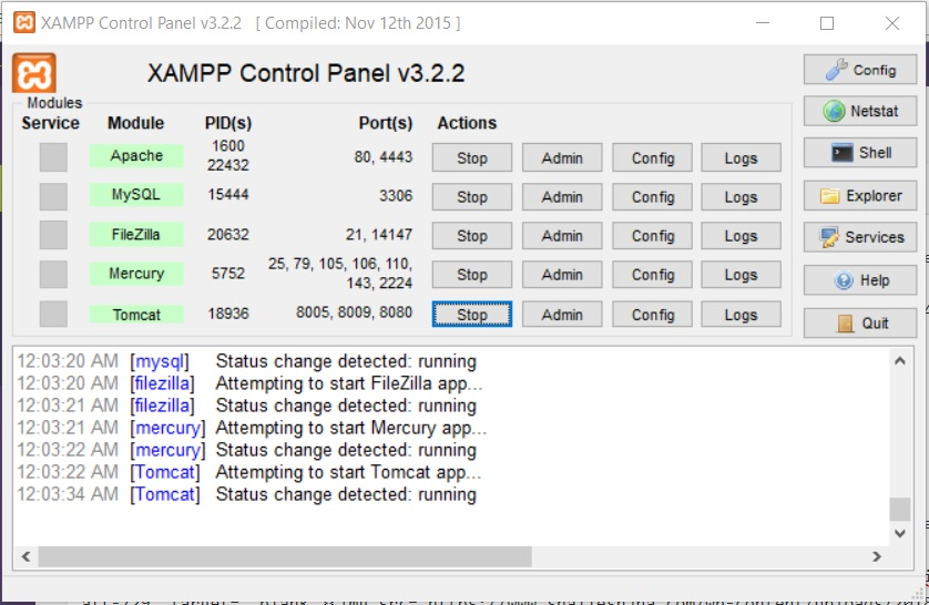 XAMPP Control Panel - Services Running