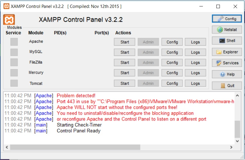XAMPP Control panel displaying issues
