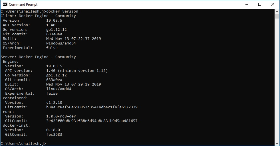 Docker Version Check - Windows Command Line