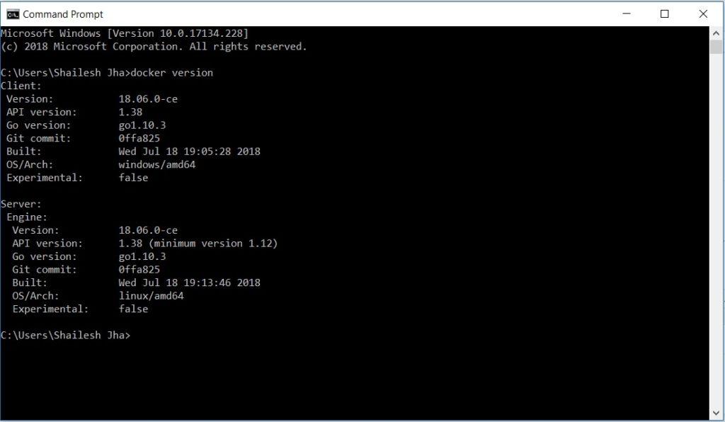 Docker - Check version - command line interface