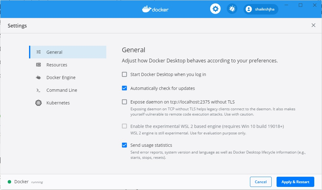 Docker Desktop settings