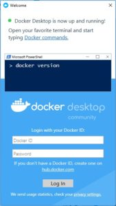 Docker Desktop welcome screen