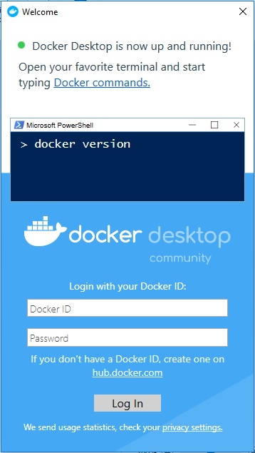 Docker Desktop welcome screen