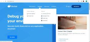 Docker desktop web page