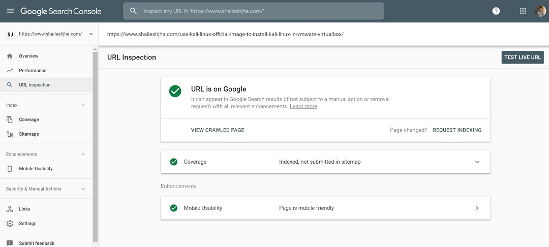 Google Search Console - Index URL confirmation