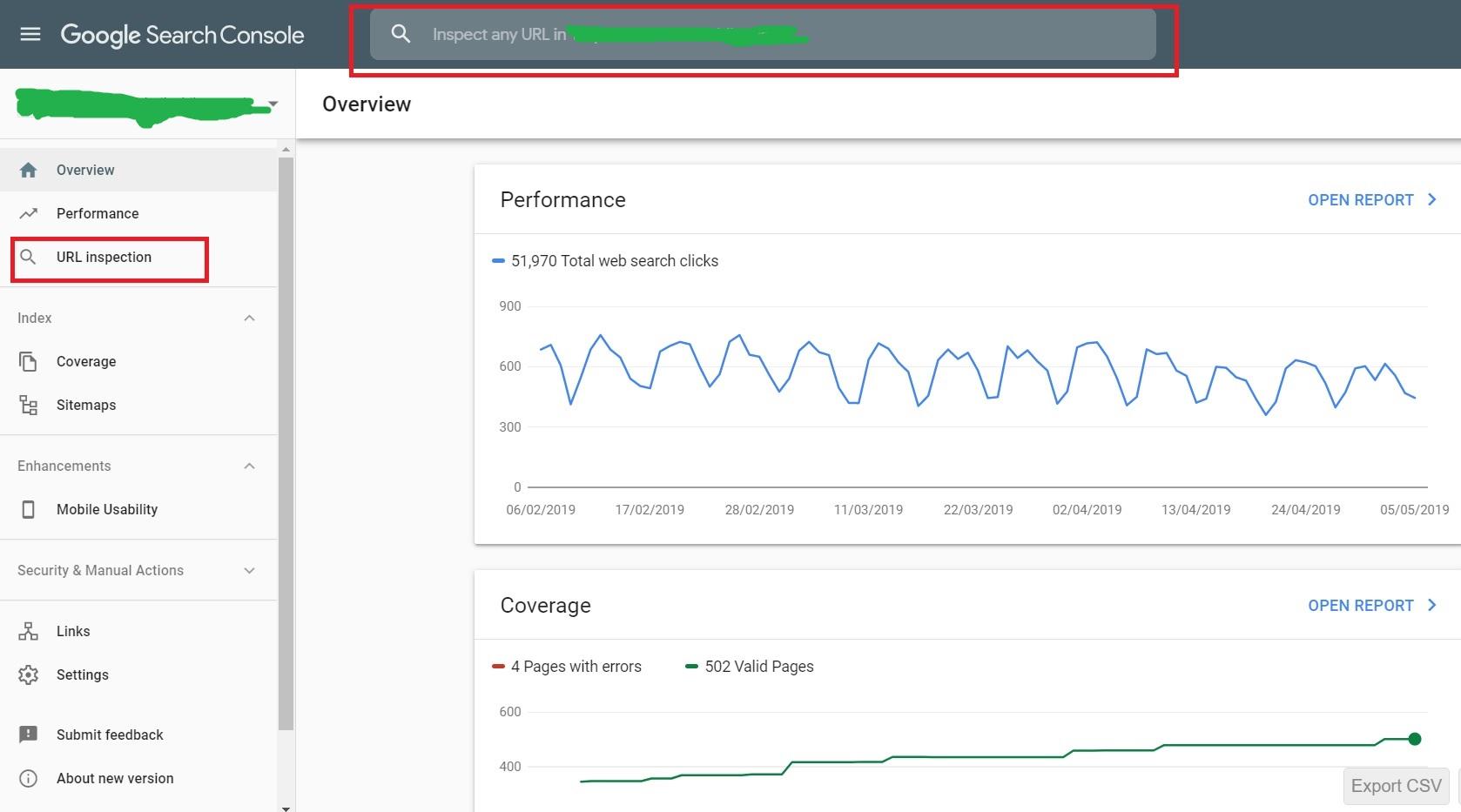 Google Search Console - Inspect URL
