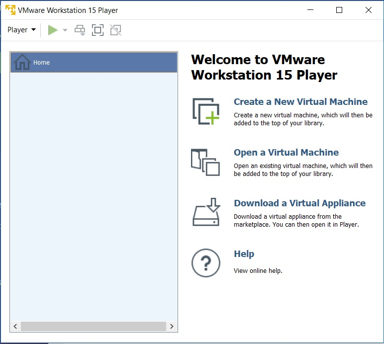 VMware Player 15 - Home Screen