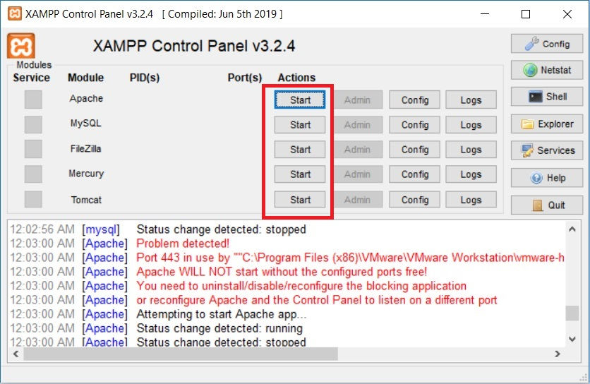 XAMPP Control Panel - Start Service
