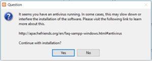 XAMPP installation on Windows - Anti Virus warning